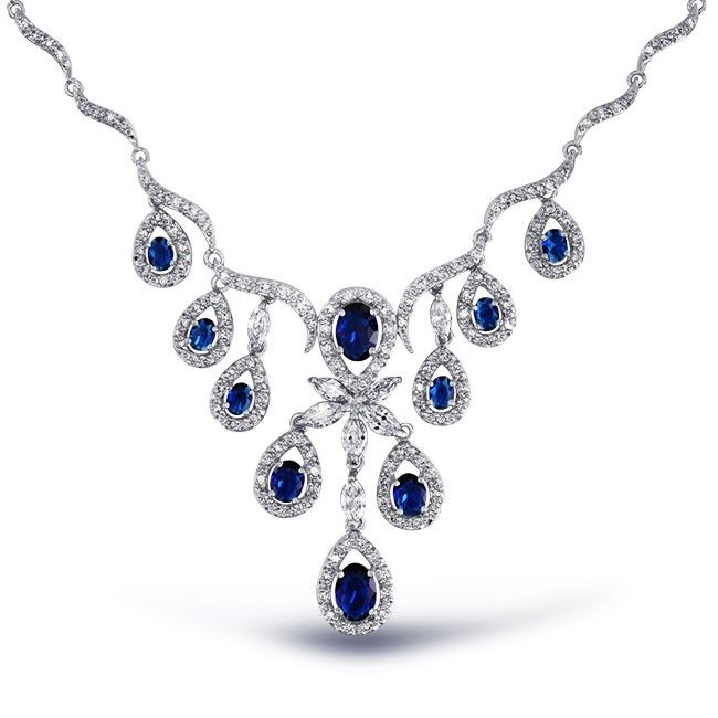 Blue Cz Multi Tear Simulated Sapphire Statement V Necklace Silver Blue Sapphire Jewelry Blue Sapphire Necklace Bling