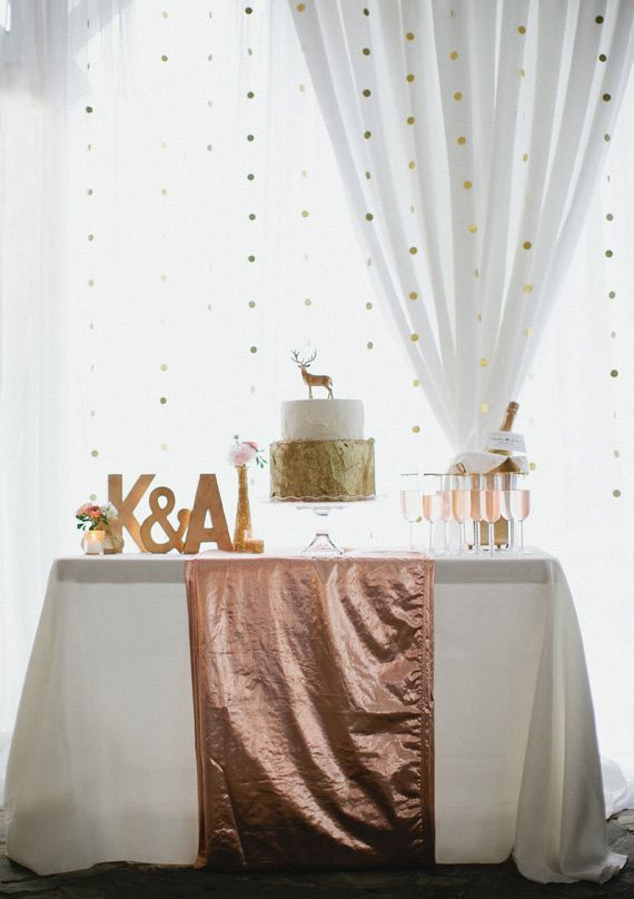 100 layer cake peach and gold wedding ideas the gold dot for Gold dot garland