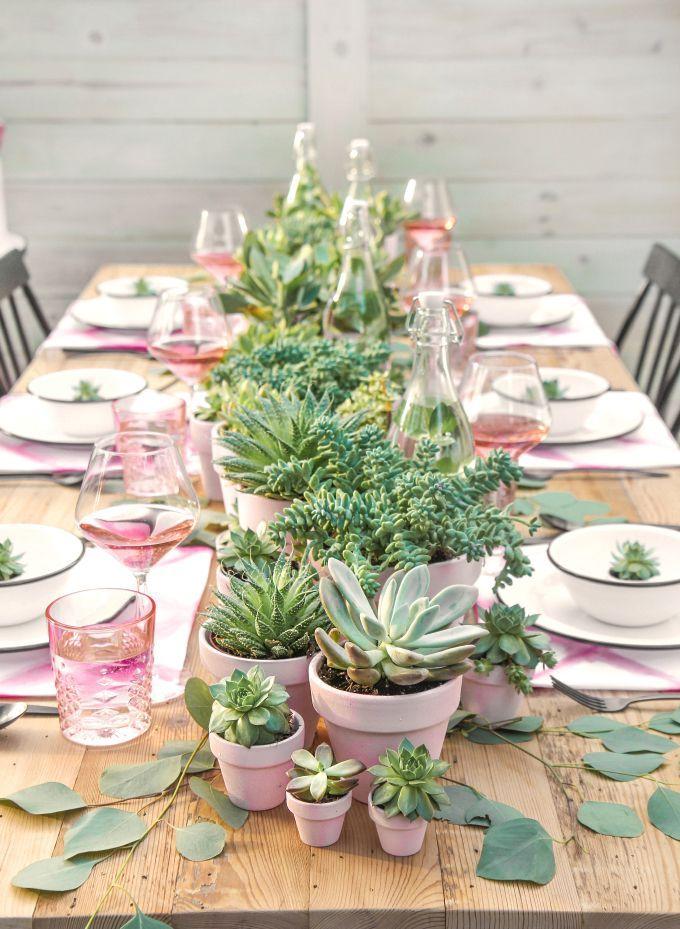 Diy Party Succulent Centerpieces Table Decorations Pink Table