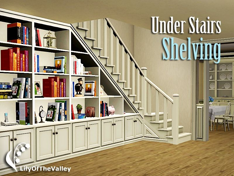 This shelving system contains shelves that fits in the triangular space under  stairs, as well as its extension and matching corner shelf.