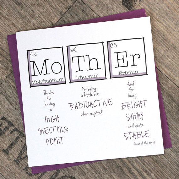 Printable Mother\'s Day Card | Greetings Card Periodic Table | For ...
