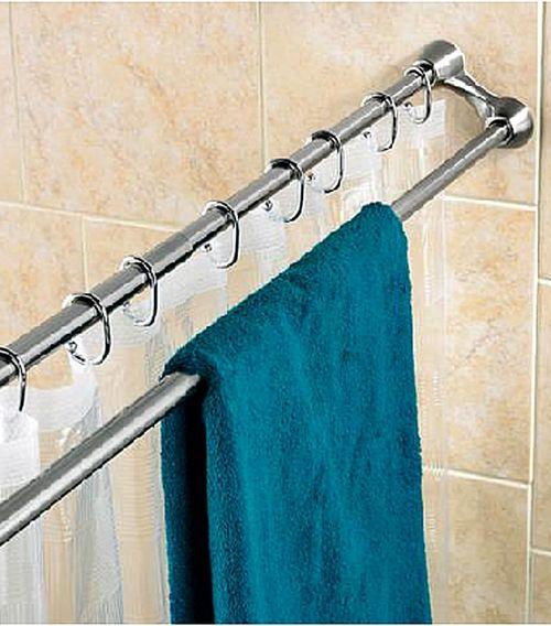 towel bar/shower rod...super smart idea!  No kidding!