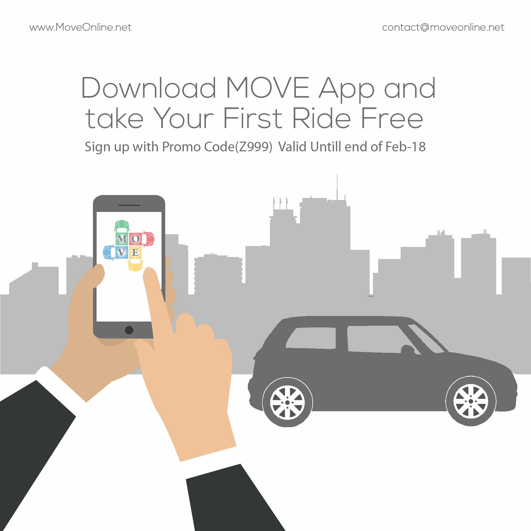 Get First Ride with Move Online Move Online is Online Cab