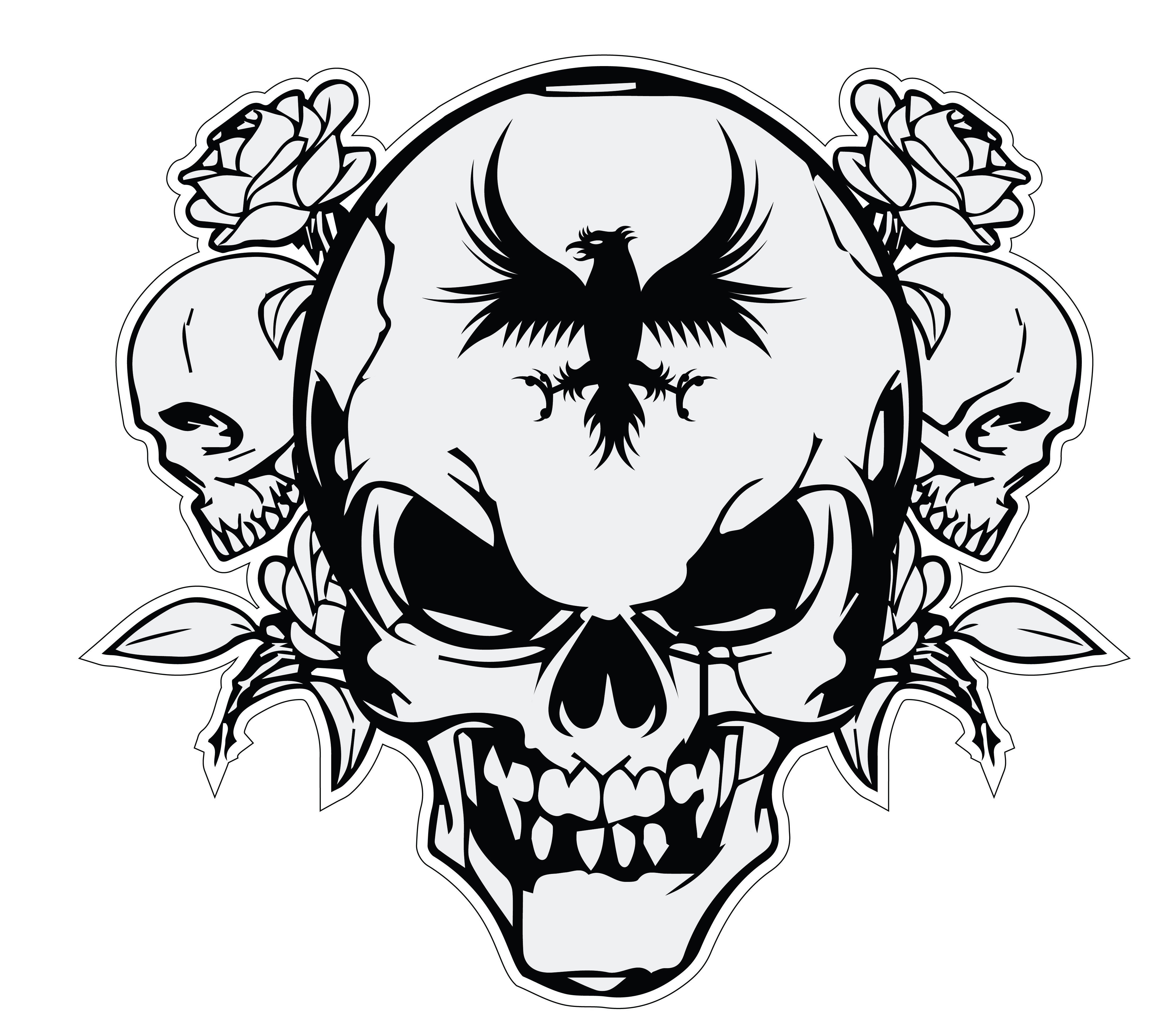skull vector logo swart Pinterest