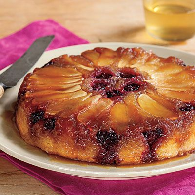 Blackberry-Apple Upside-Down Cake | Tart blackberries and sweet apples caramelize perfectly with layers of buttery cake in this one-pan dessert. | SouthernLiving.com