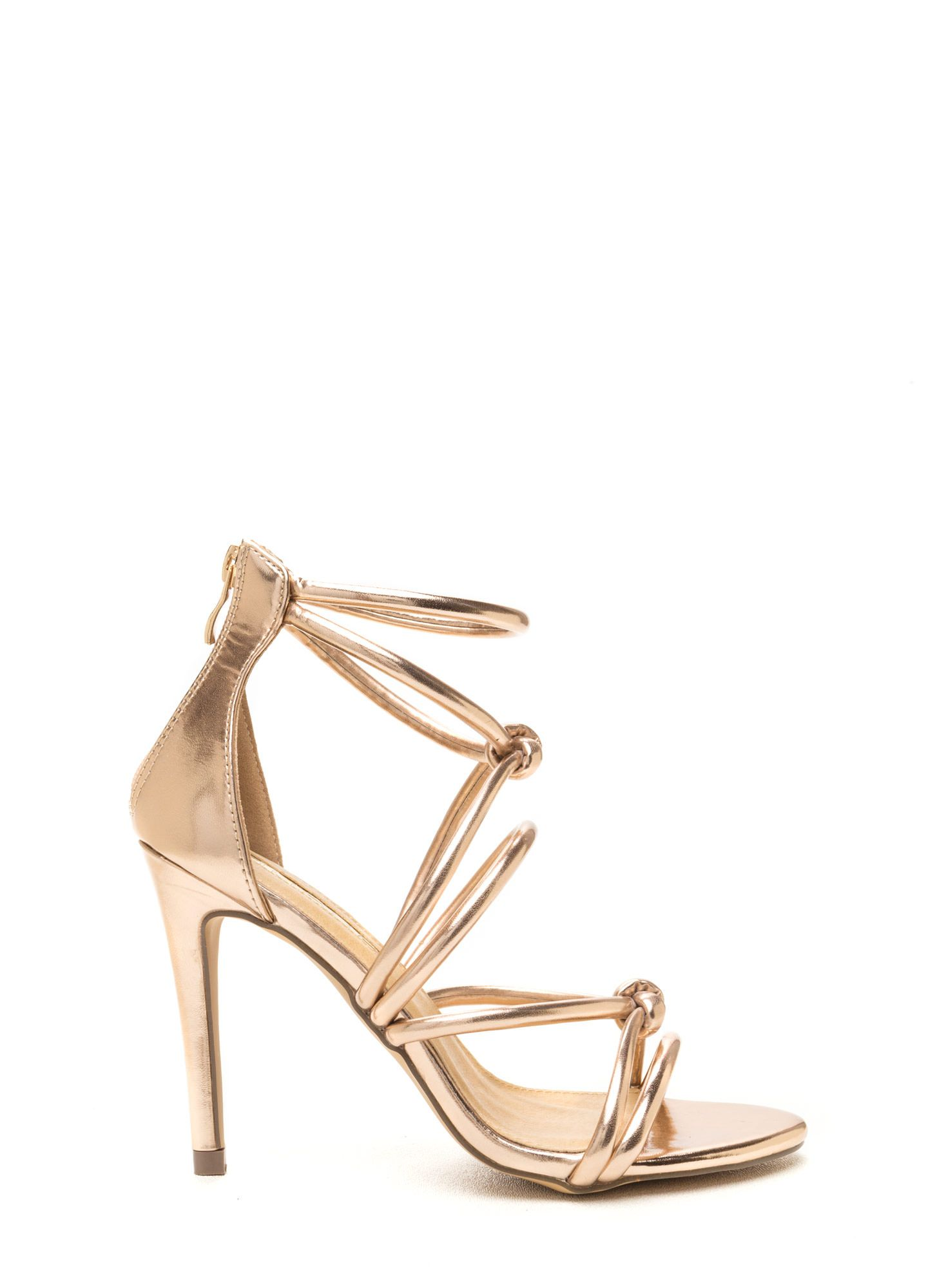 7adf1d37045 Runway Waltz Strappy Metallic Heels CHAMPAGNE