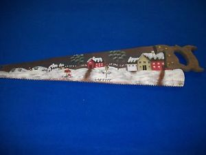 VINTAGE-HAND-PAINTED-HAND-SAW-WINTER-SCENE-WELCOME-SIGN