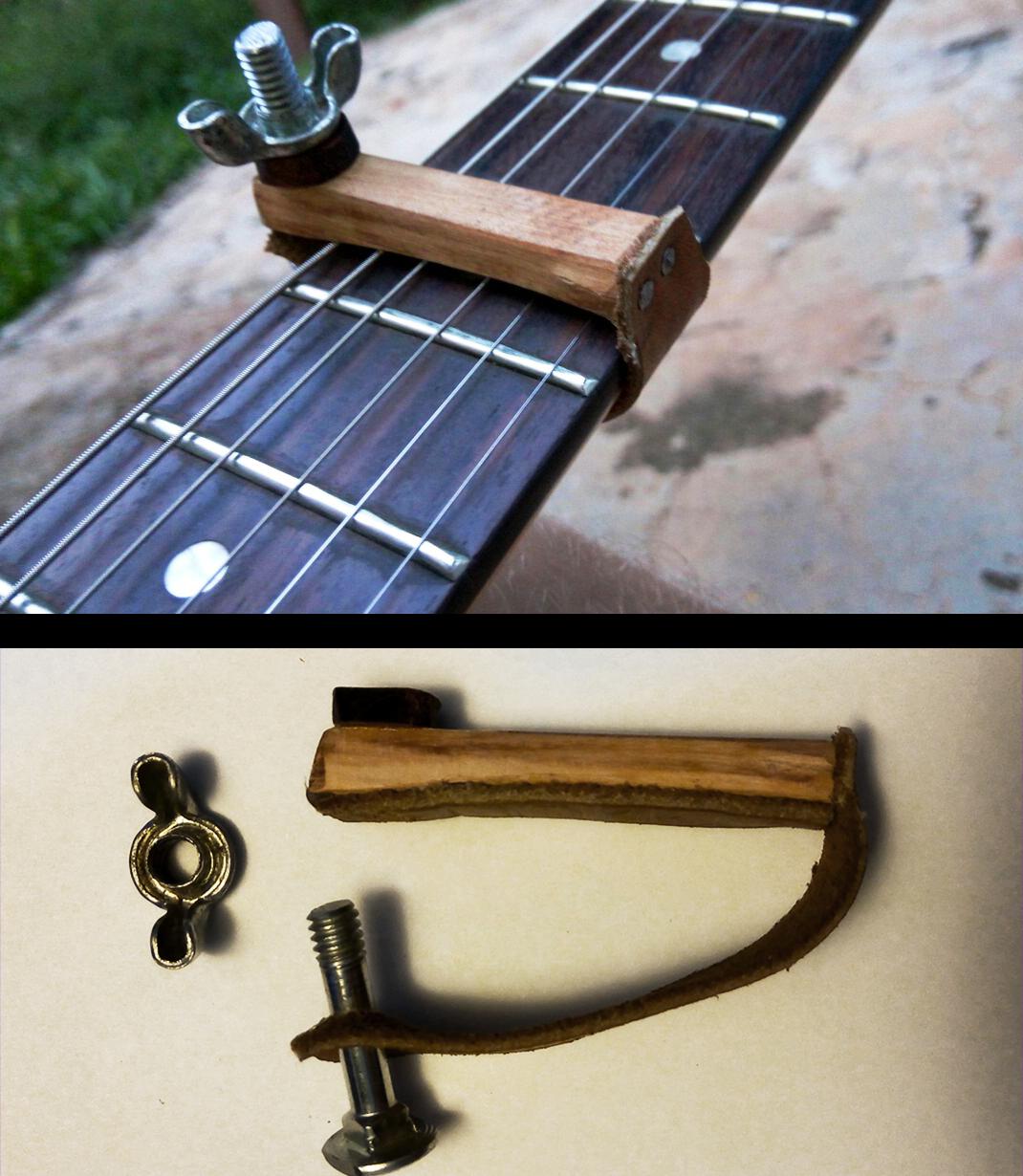 Capotraste Guitar Capo Handmade Feito Com Madeira E Couro