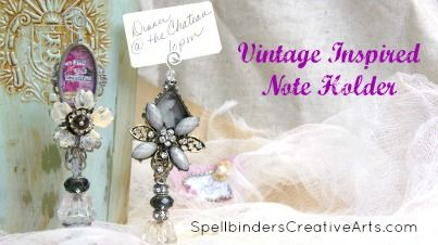 #MediaMixage Monday on the #Spellbinders blog & we've got a #tutorial by artist, Linda Peterson that will make a lovely display for pictures, place settings or #wedding #decor! #mixedmedia #jewelry #diy #craft