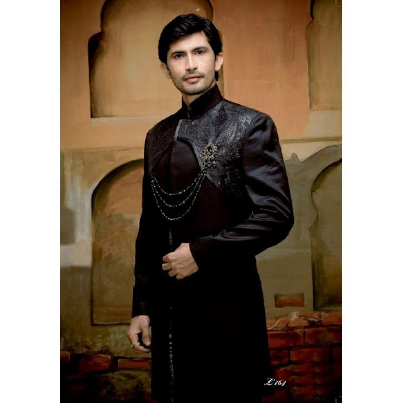 Mens Wedding Suit Indo-Western Black Night Ref: E212 | Indian ...