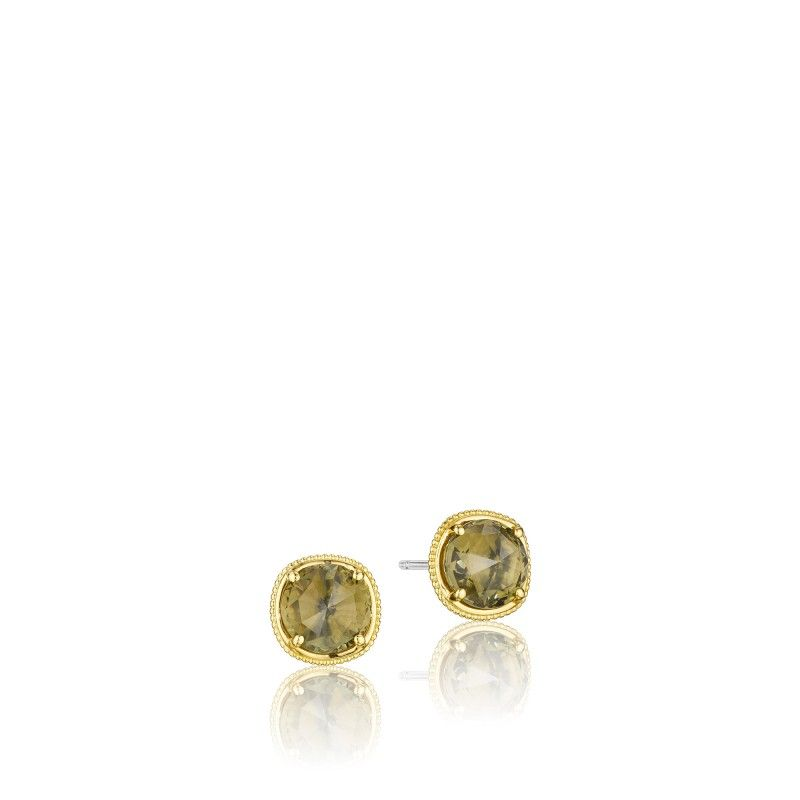 Talk about stylish studs! Two Olive Quartz stones framed by 18k gold create a truly iconic Tacori design. Perfect for any special occasion whether it is a day with the girls or a night with your man! Available in several colors.