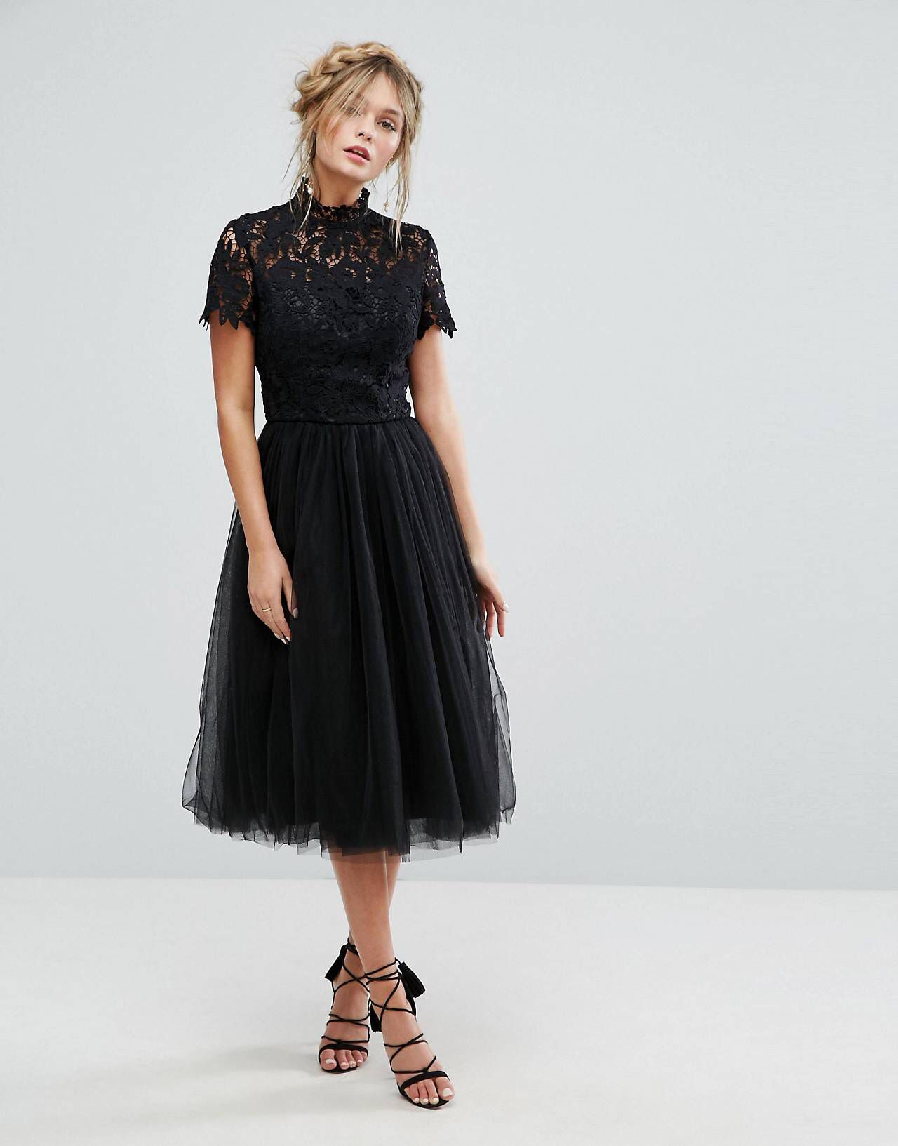 41c2ebdf1ea2 Chi Chi London high neck lace midi dress with tulle skirt in black ...