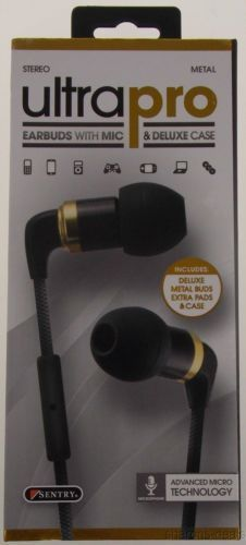ef1872bd36f Sentry Ultra Pro Stereo Earbuds Microphone Deluxe Case H7000 Metal Tangle  Proof
