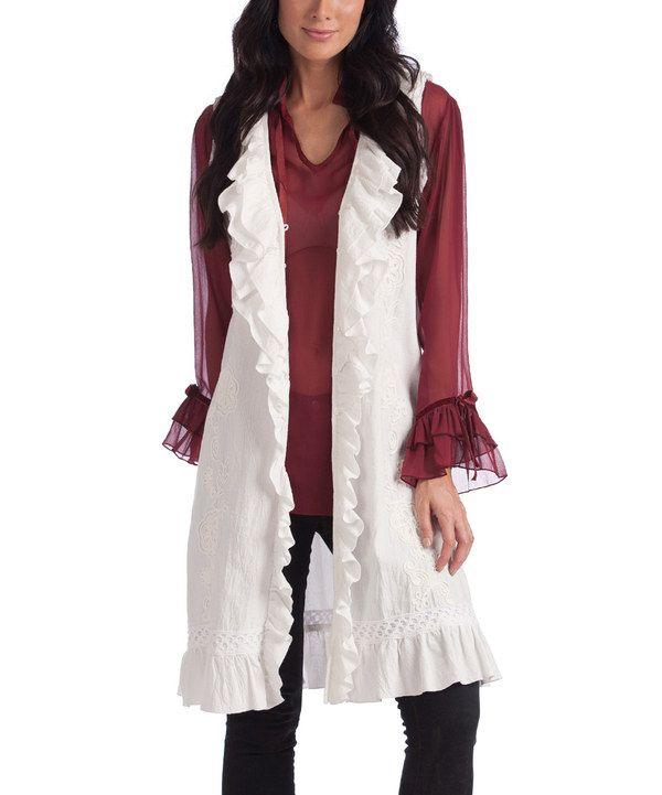 Look at this Rancho Estancia Snow White Romantic Ruffle Duster on #zulily today!