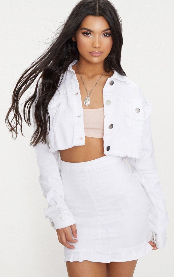 White Ruffle Cropped Denim Jacket Cropped Denim Jacket White Ripped Denim Cropped Denim [ 1180 x 740 Pixel ]