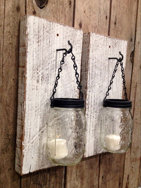 White barn wood mason jar csndle holders by Thesalvagednail