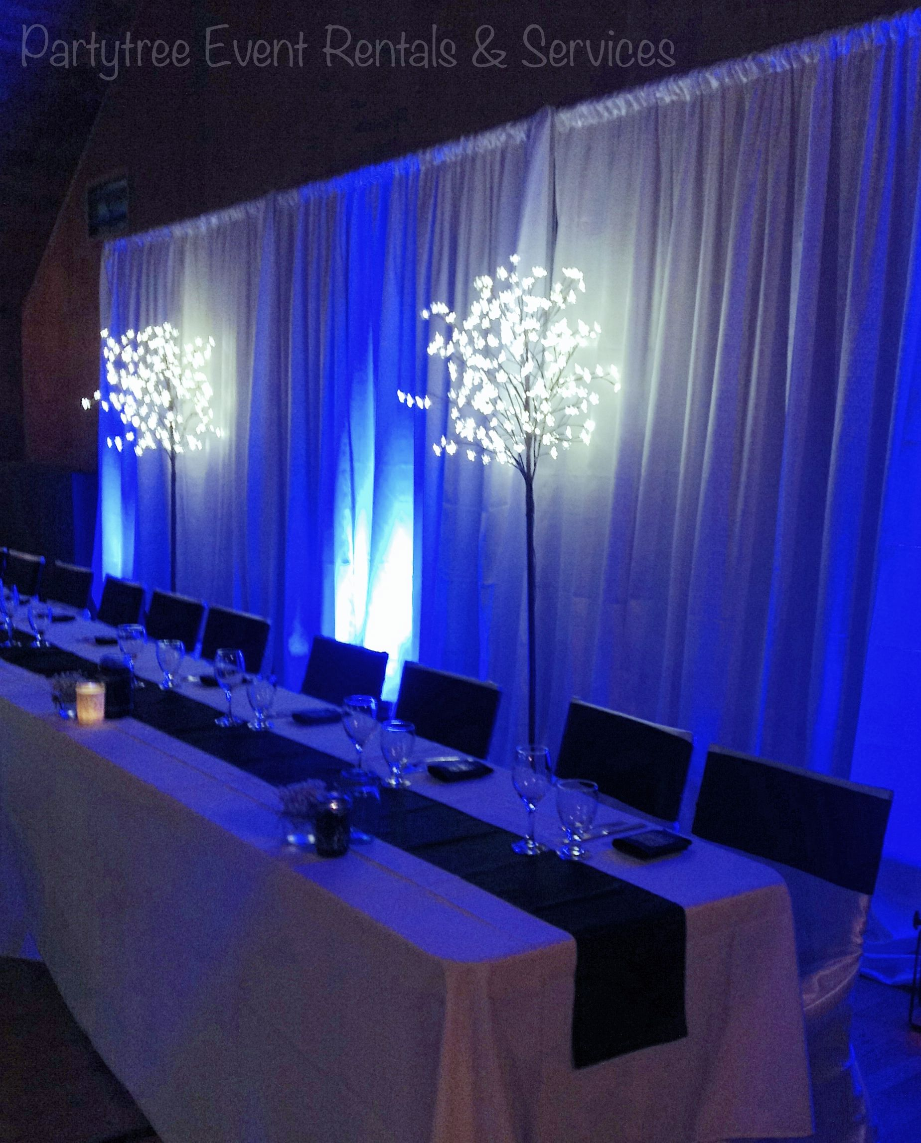 Navy Blue Theme Wedding Camp River Hall Chilliwack White Backdrop Up