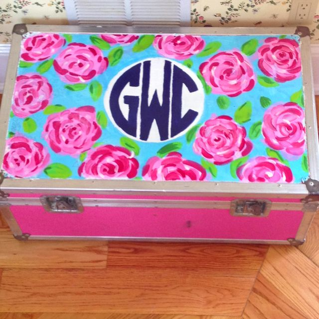 Painted summer camp trunk in a lilly pulitzer print