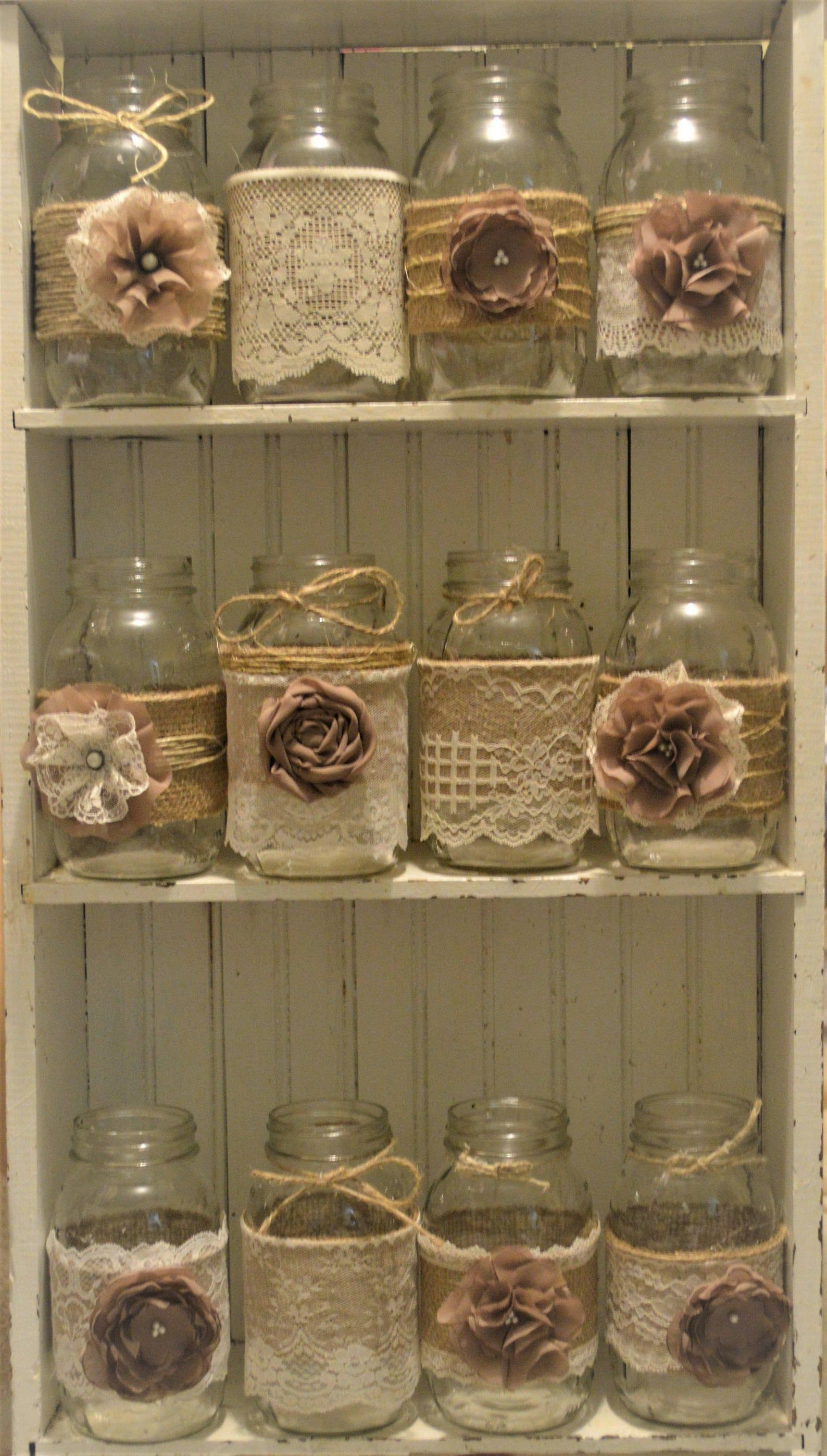 12 Mason Jar Wedding Centerpieces, Rustic Wedding,