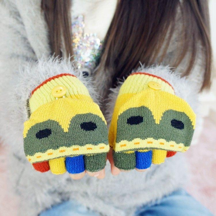 Wholesale Children's Knitted Five Finger Gloves Kids Fox Fingerless Gloves, View…