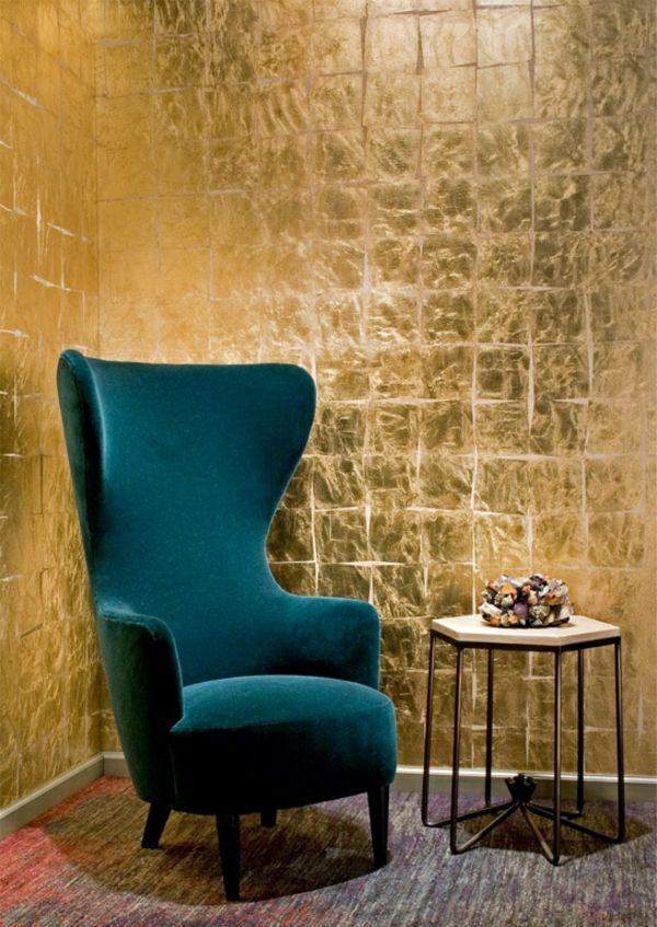 Goldene Tapeten strahlen Wärme aus und sorgen für magische Momente - goldene tapete modern design