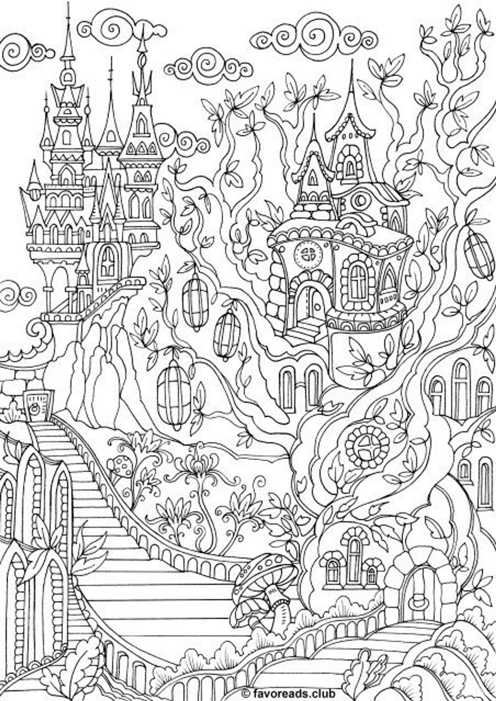 Fantasy City Printable Adult Coloring Page from