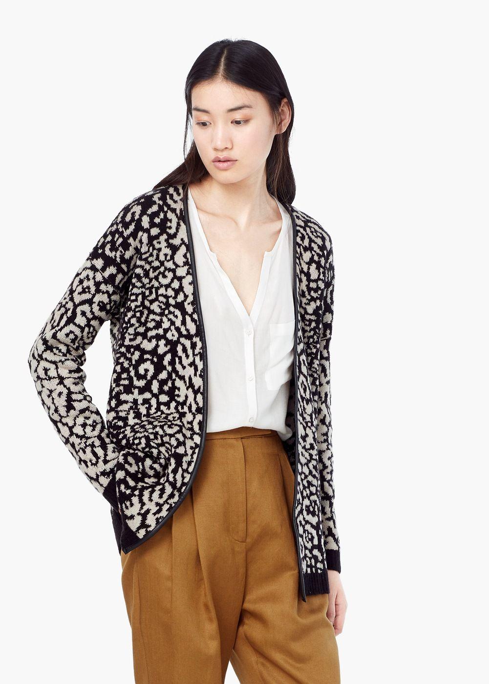 Cardigã bicolor - Cardigãs e camisolas de Mulher | MANGO