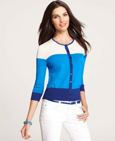 Ann Taylor - AT New Arrivals - Colorblocked 3/4 Sleeve Cardigan