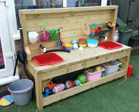 Mud Kitchen With Working Water Pump Daycare Ideas Pinterest Diy Mud Kitchen Mud Kitchen Backyard Play Spaces