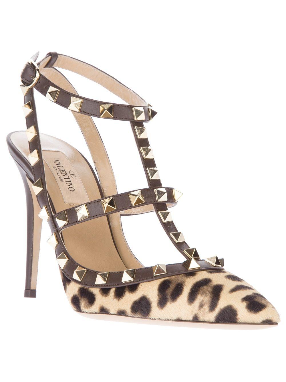 Valentino 'Rockstud' leopard print pump