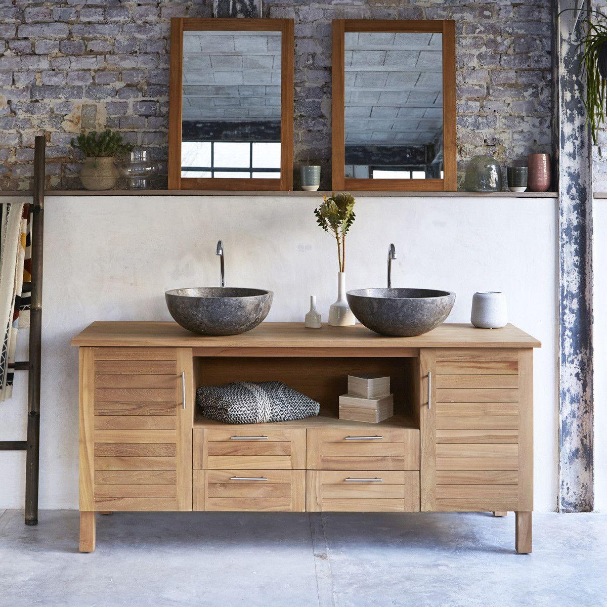 Photo of Solid Teak Wood Vanity Cabinet Wash Stand Large Size for 2 Basins Bathroom