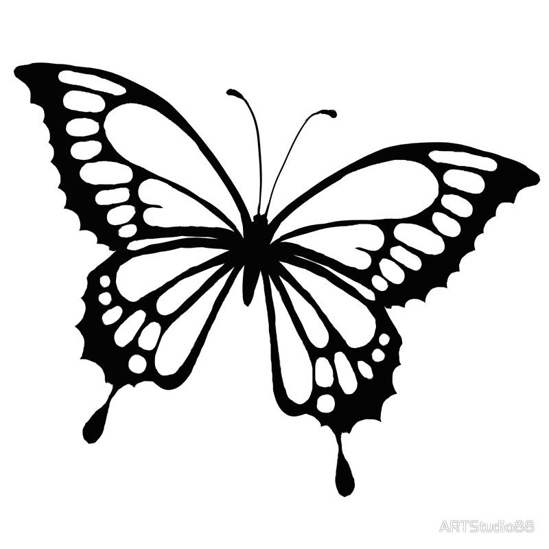 Free Butterfly Stencil Monarch Butterfly Outline And Silhouette Throughout Monarch Butterfly Temp Butterfly Coloring Page Butterfly Printable Butterflies Svg