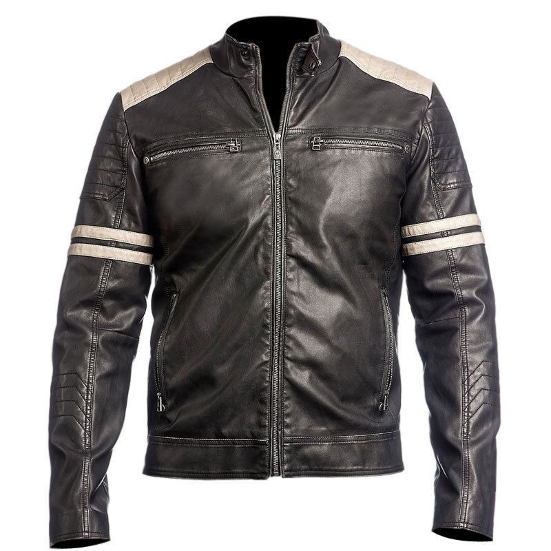 Retro Vintage Leather Mens Black Biker Jackethandmade HW29EDI