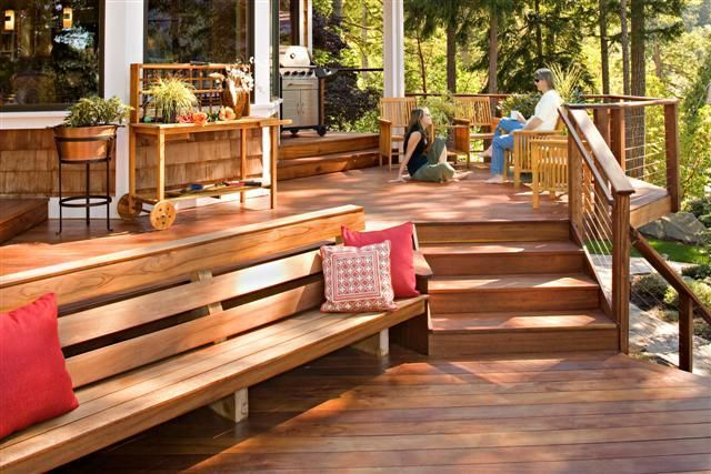 Another deck idea – multi-level with bench going onto the grass/ground level… – 2019