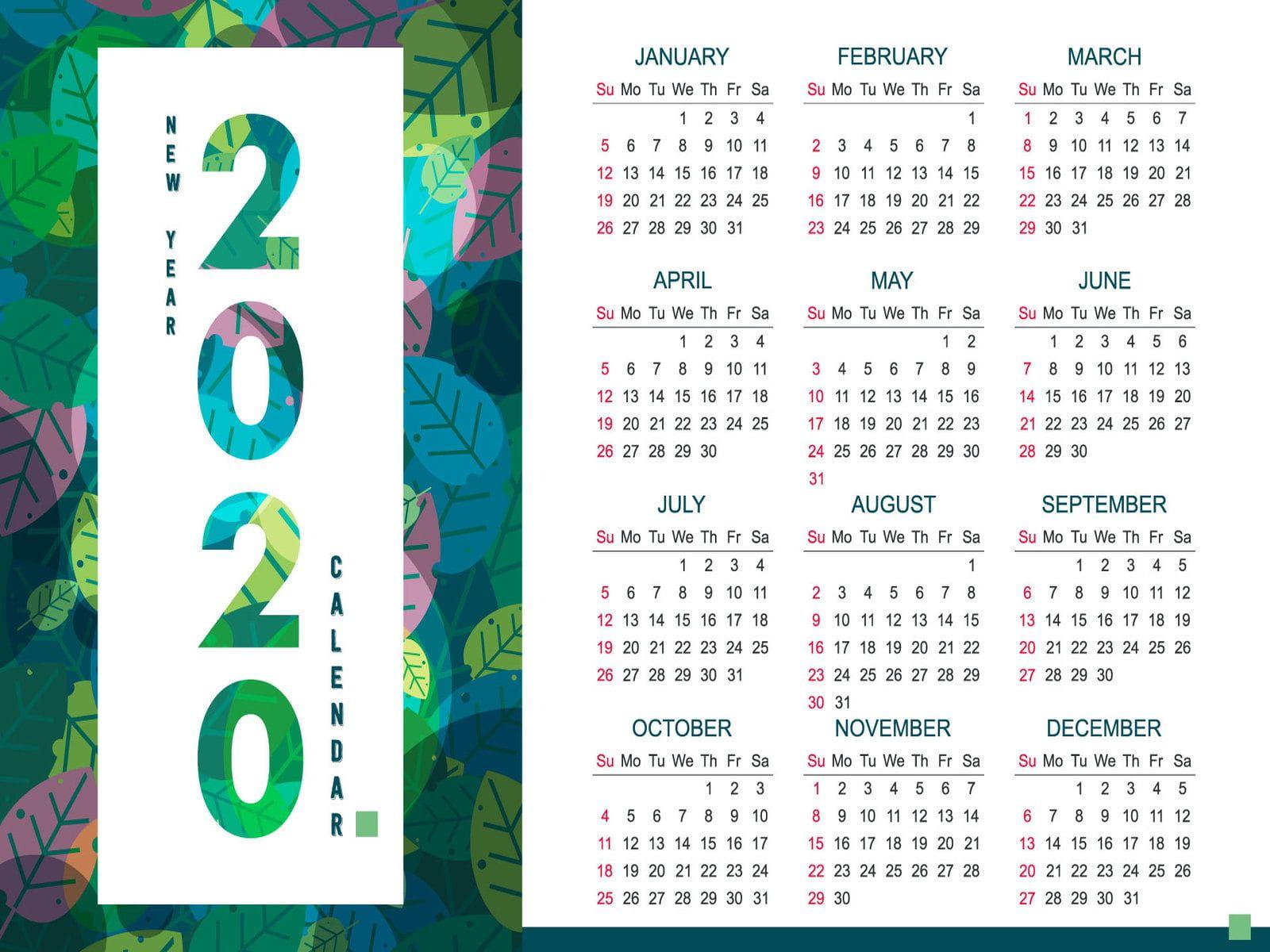 Calendar 2020 Year Numbers Month Leaves 720p Wallpaper Hdwallpaper Desktop In 2020 New Year Calendar Calendar Design Calendar