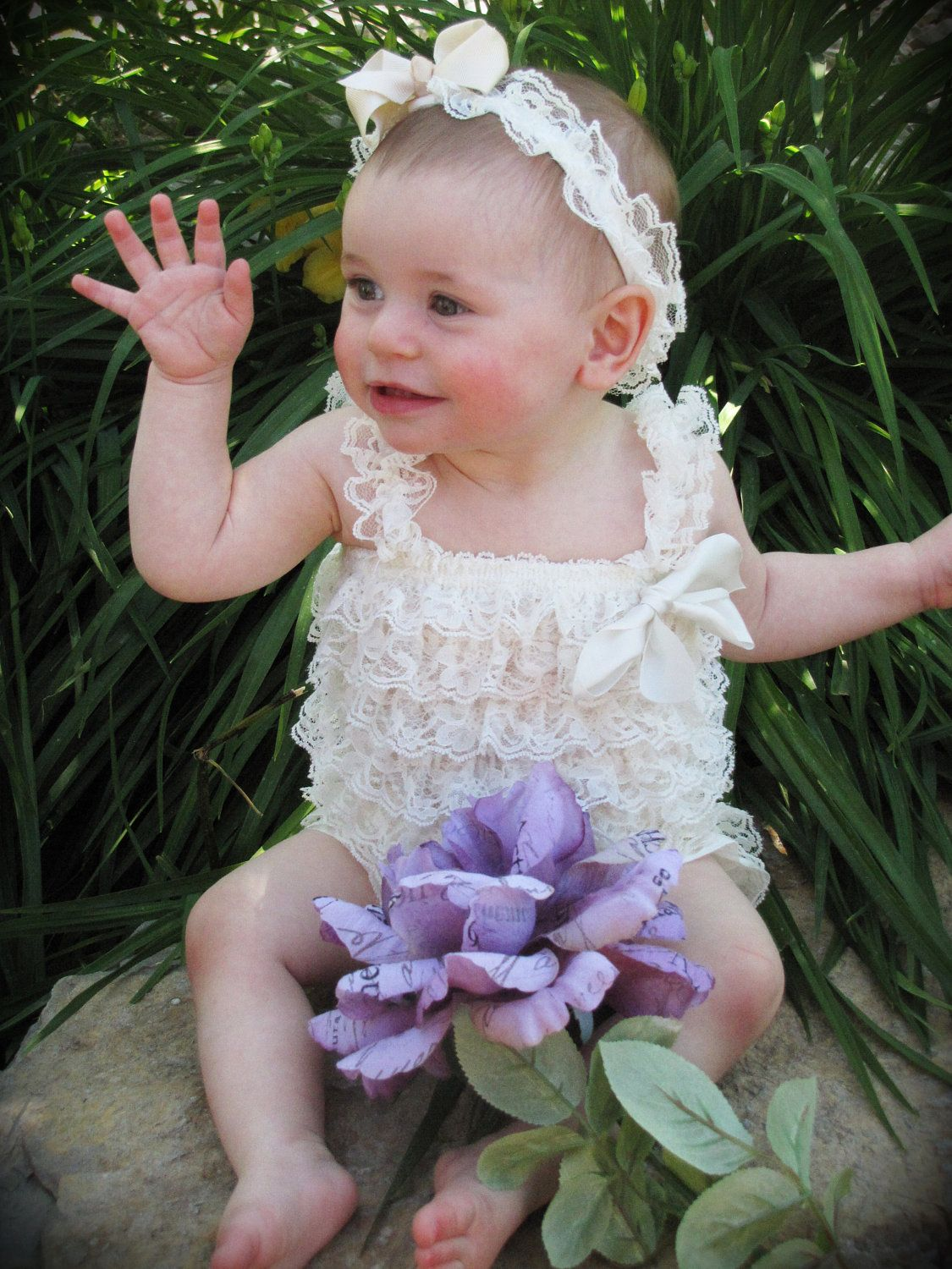 Baby Lace romper with cream flowered headband / baby by PlumCuties, $22.95