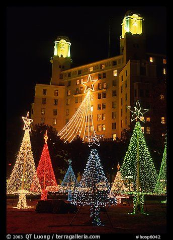christmas lights and arlington hotel hot springs arkansas usa color