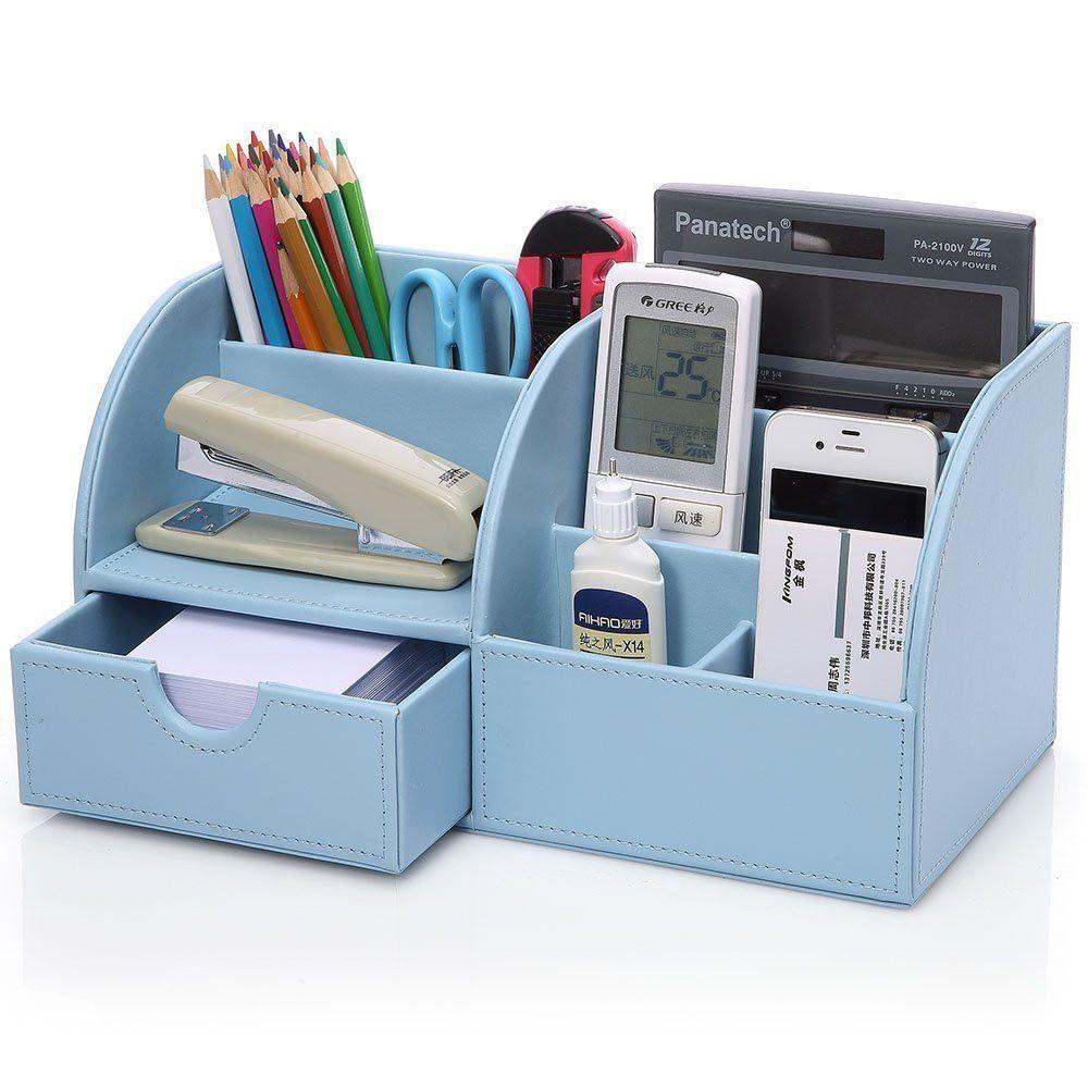 Unique Home Office Computer Desk Supplies Pen Pencil Holder Leather ...