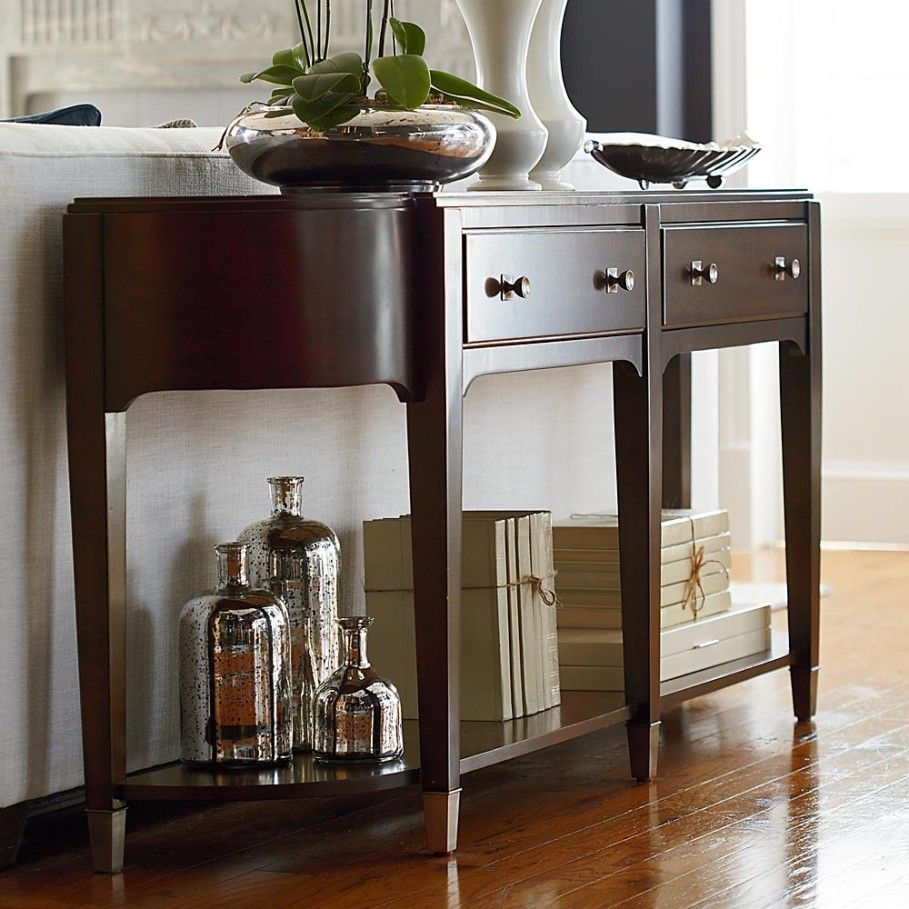 Elegant Design Of Wooden Long Console Table With Two Drawers In