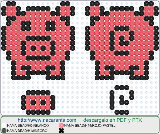 Pig 3d EN HAMA BEADS 3D Perler Bead Patterns   PATRONES CUENTAS HAMA ...