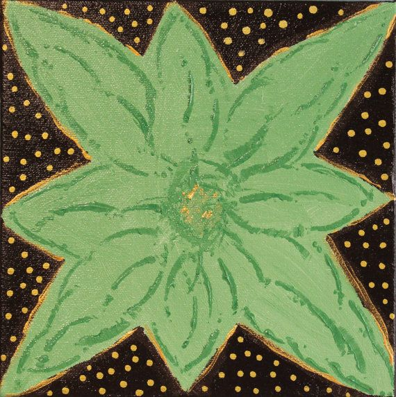 """""""Green Flower"""" Original Painting on Canvas. 8X8 $75.00"""