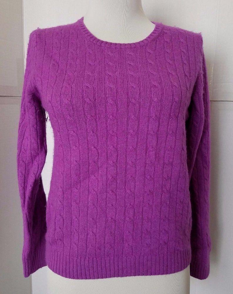 J Crew Deep Fuchsia Wool Cashmere Pullover Cable Knit Sweater Womens XS #JCrew #Crewneck