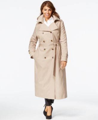dkny plus size hooded belted trench coat | women's outerwear