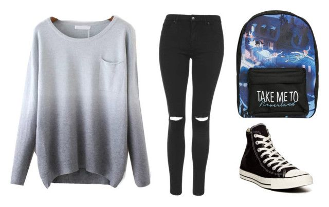"""Street girl"" by chox154 ❤ liked on Polyvore featuring Topshop, Converse and Disney"