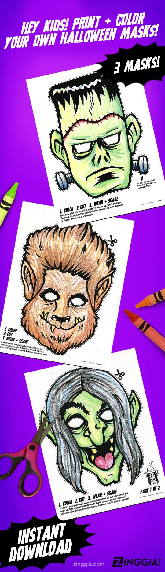 PRINTABLE PDF Monster Coloring Masks, 3 kids paper halloween masks ...