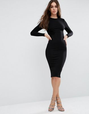 Midi body-conscious black dress with long sleeves by asos