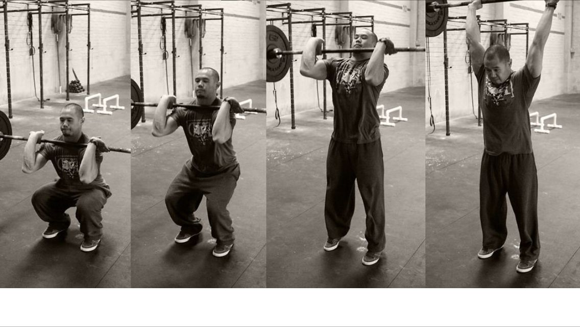 Thruster: squat and thrust that barbell up!