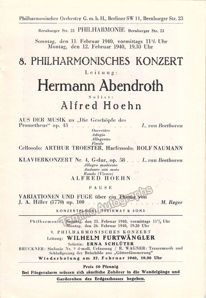 Hoehn Hermann  Concert Program Berlin   Hermann Abendroth