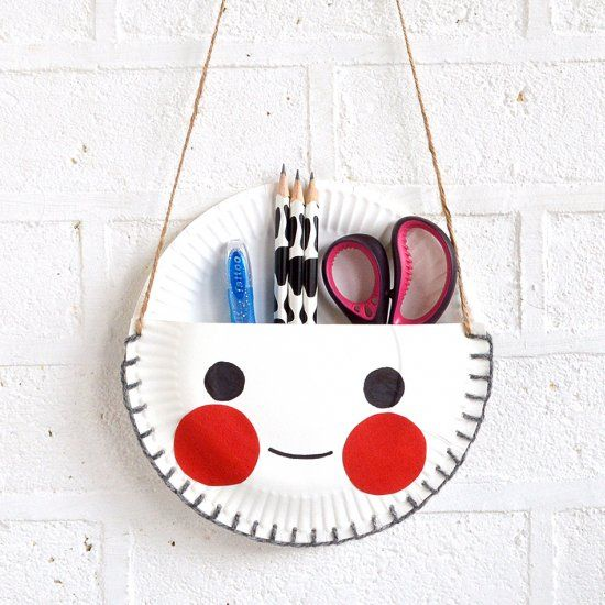 Make the cutest Paper Plate Desk Tidy for your kids to hold all their u0027importantu0027 stuff & Make the cutest Paper Plate Desk Tidy for your kids to hold all ...