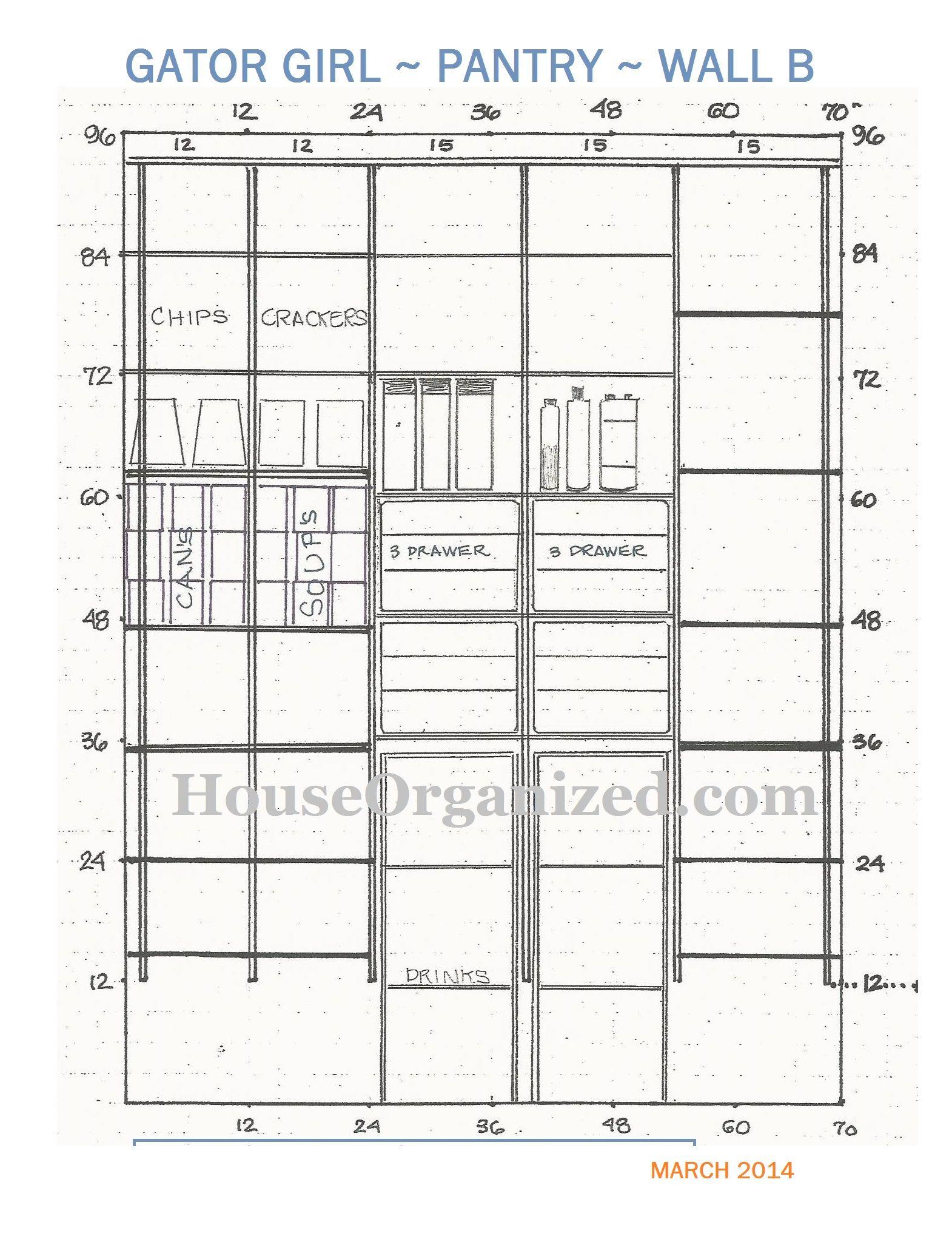 Gator Girl #pantry renovation. Wall B #HouseOrganized.com schematic ...
